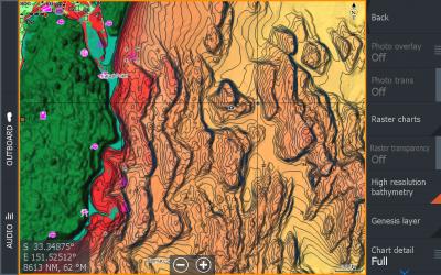 C-MAP®, le carte con ombreggiatura dei rilievi